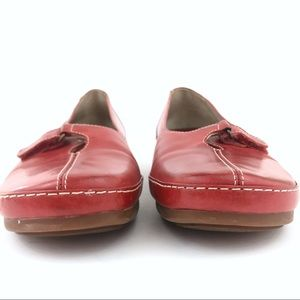Clarks Shoes - Clarks red leather square toe ballet flat 7 Velcro